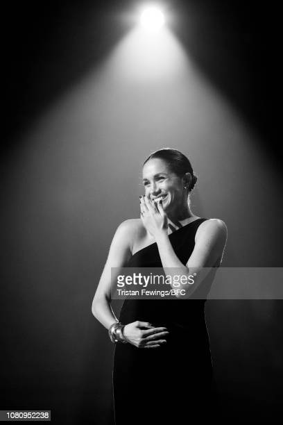 Meghan, Duchess of Sussex on stage during The Fashion Awards 2018 In Partnership With Swarovski at Royal Albert Hall on December 10, 2018 in London,...