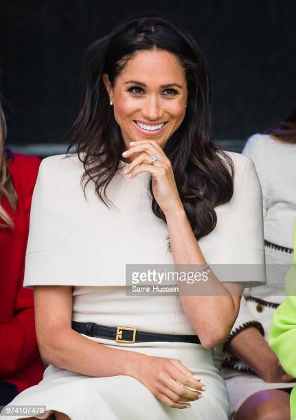 Meghan Duchess of Sussex opens the new Mersey Gateway Bridge on June 14 2018 in Widness England