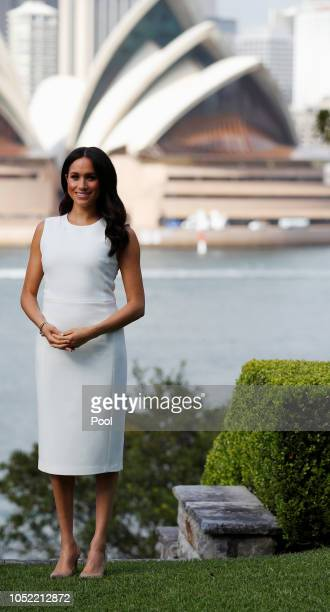 Meghan Duchess of Sussex poses during a Welcome Event at Admiralty House on October 16 2018 in Sydney Australia The Duke and Duchess of Sussex are on...