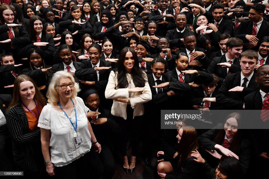 The Duchess Of Sussex Visits The Robert Clack Upper School In Dagenham : News Photo