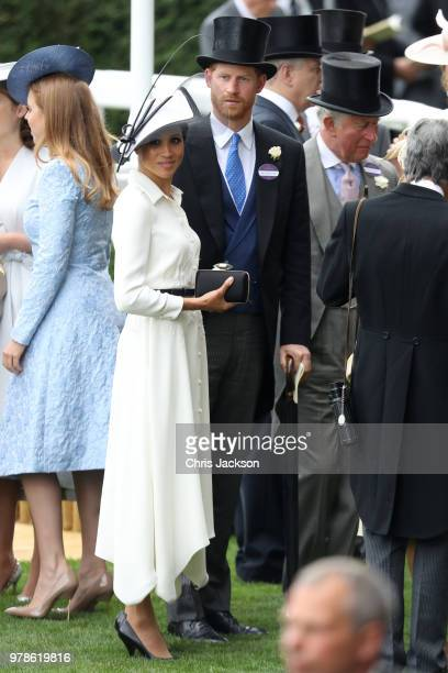 Meghan Duchess of Sussex Prince Harry Duke of Sussex and Prince Charles Prince of Wales attend Royal Ascot Day 1 at Ascot Racecourse on June 19 2018...