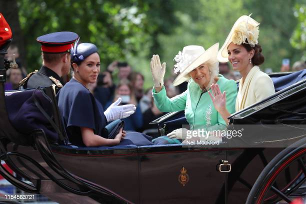 Meghan Duchess of Sussex Prince Harry Duke of Sussex Camilla Duchess of Cornwall and Catherine Duchess of Cambridge during Trooping The Colour the...