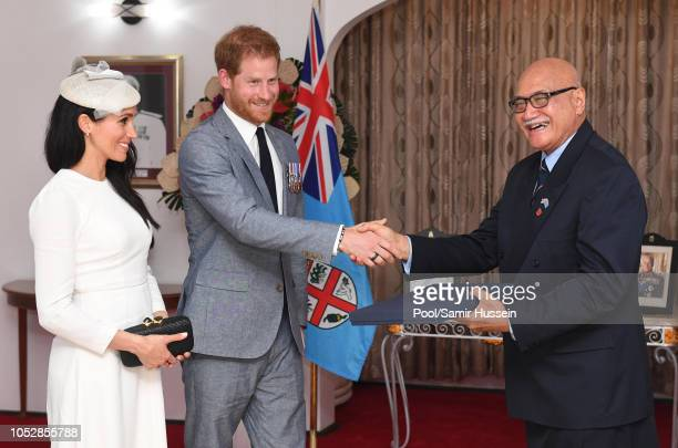 Meghan Duchess of Sussex Prince Harry Duke of Sussex meet with President of Fiji Jioji Konrote on the first day of their tour to Fiji on October 23...