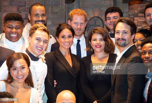 Meghan Duchess of Sussex Prince Harry Duke of Sussex Vanessa Nadal and playwright Lin Manuel Miranda meet the cast and crew of Hamilton backstage...