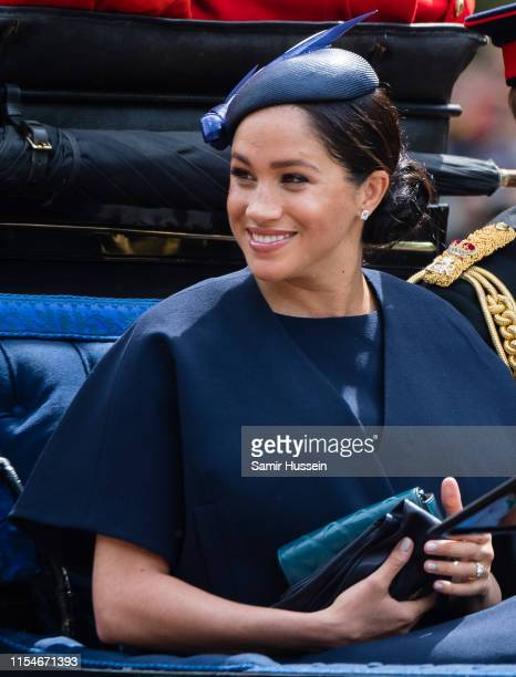 Meghan, Duchess of Sussex rides by carriage down the Mall during Trooping The Colour, the Queen's annual birthday parade, on June 08, 2019 in London,...