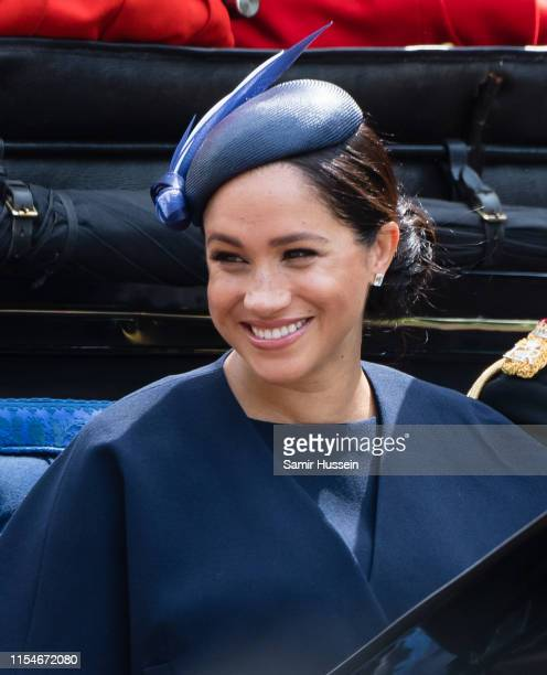 Meghan Duchess of Sussex rides by carriage down the Mall during Trooping The Colour the Queen's annual birthday parade on June 08 2019 in London...