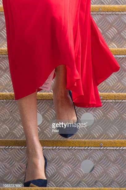 Meghan Duchess of Sussex shoe detail as she arrives at Fua'amotu Airport on October 25 2018 in Nuku'Alofa Tonga The Duke and Duchess of Sussex are on...