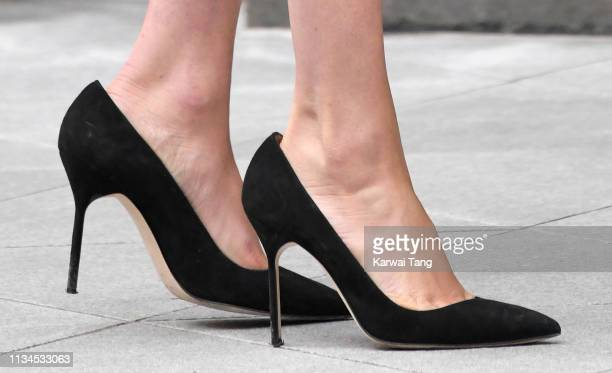 Meghan, Duchess of Sussex, shoe detail, departs after joining a panel discussion convened by The Queen's Commonwealth Trust to mark International...