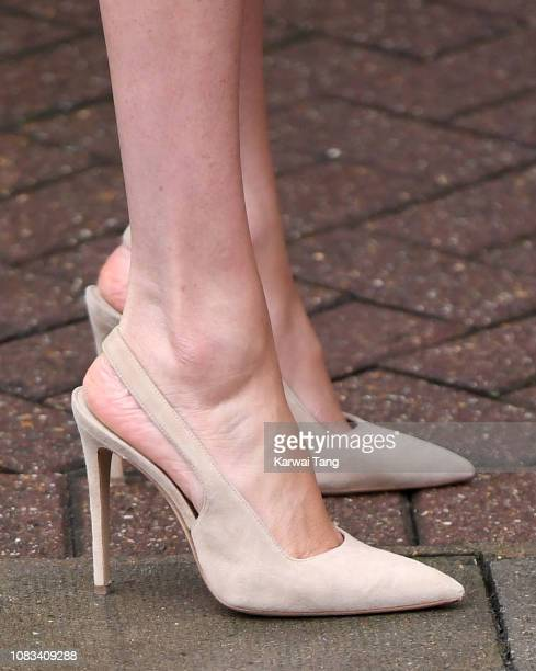 Meghan Duchess Of Sussex shoe detail departs after visiting Mayhew Animal Welfare Charity on January 16 2019 in London England This will be Her Royal...