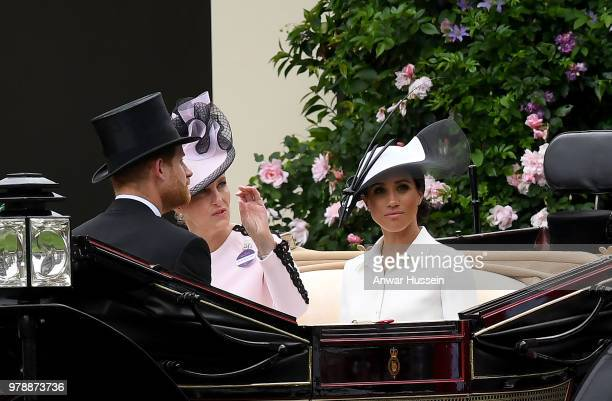 Meghan Duchess of Sussex Sophie Countess of Wessex and Prince Harry Duke of Sussex arrive in an open carriage to attend the first day of Royal Ascot...