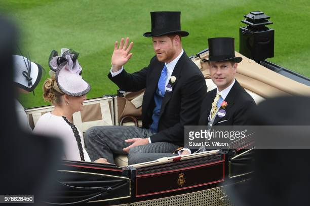 Queen Elizabeth II and Princess Anne Princess Royal Prince Andrew the Duke of York and Lord Vestey arrive on day 1 of Royal Ascot at Ascot Racecourse...
