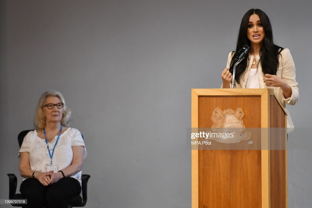 The Duchess Of Sussex Visits The Robert Clack Upper School In Dagenham : News Photo