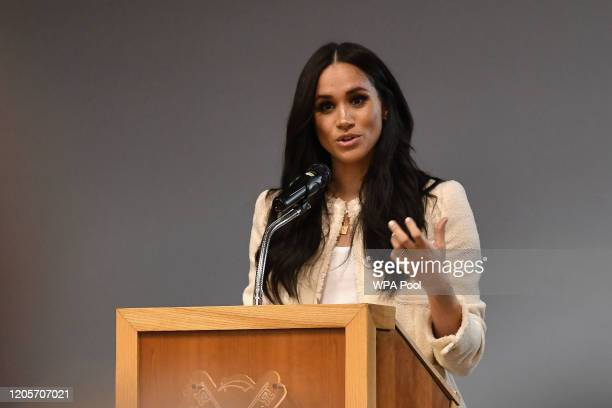 Meghan Duchess of Sussex speaks during a special school assembly at the Robert Clack Upper School in Dagenham ahead of International Women's Day held...