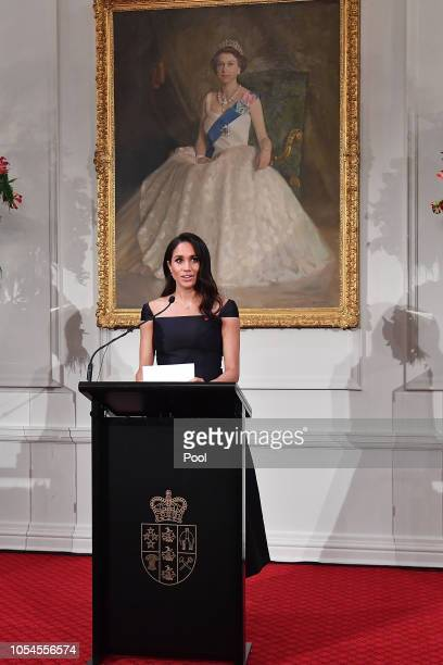 Meghan Duchess of Sussex speaks to invited guests during a reception at Government House on October 28 2018 in Wellington New Zealand