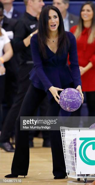 Meghan Duchess of Sussex takes part in a netball game as she attends the Coach Core Awards held at Loughborough University on September 24 2018 in...