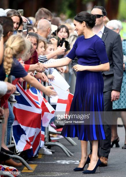 Meghan Duchess of Sussex takes part in a walkabout on October 31 2018 in Rotorua New Zealand The Duke and Duchess of Sussex are on their official...