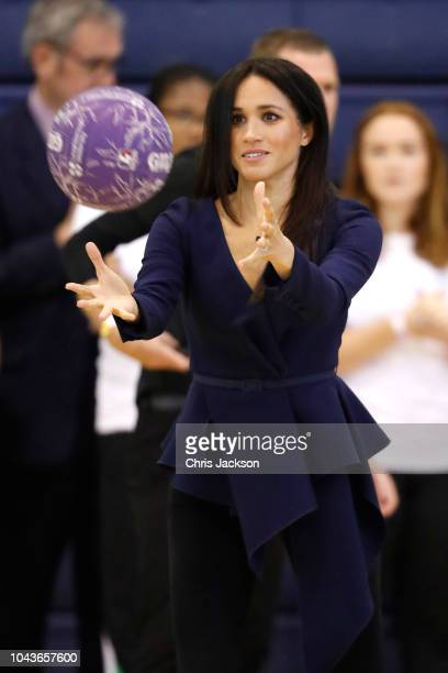 Meghan Duchess of Sussex throws a ball at the Coach Core Awards held at Loughborough University on September 24 2018 in Loughborough England