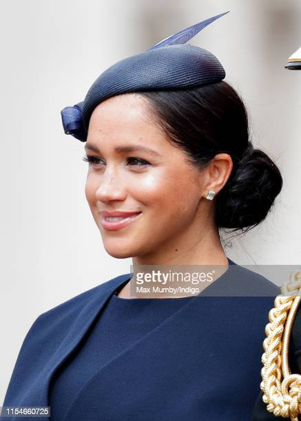 Meghan Duchess of Sussex travels down The Mall in a horse drawn carriage during Trooping The Colour the Queen's annual birthday parade on June 8 2019...