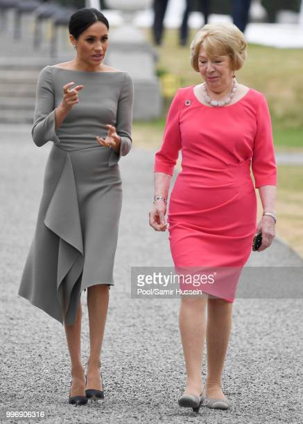 Meghan Duchess of Sussex visit Irish President Michael Higgins and his wife Sabina Coyne at Aras an Uachtarain during their visit to Ireland on July...