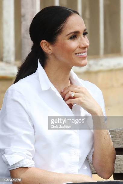 Meghan, Duchess of Sussex visits a local farming family, the Woodleys, on October 17, 2018 in Dubbo, Australia. The Duke and Duchess of Sussex are on...