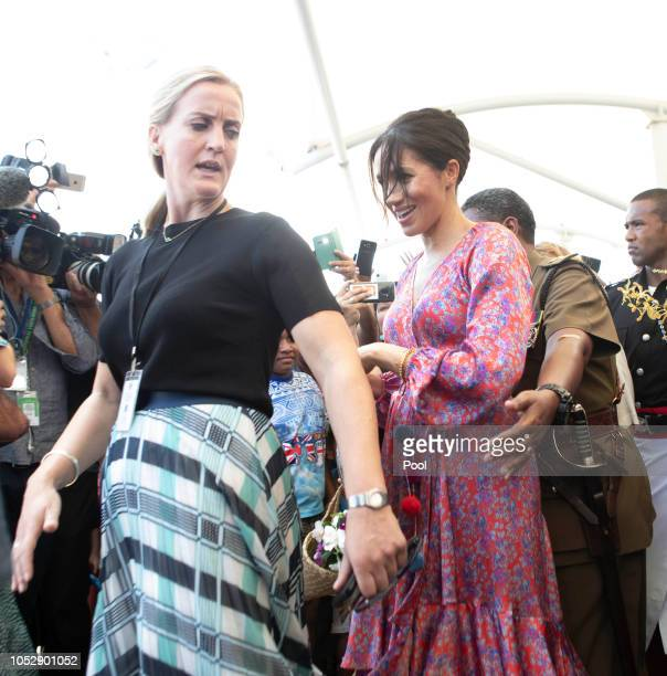 Meghan Duchess of Sussex visits a market on October 24 2018 in Suva Fiji The Duke and Duchess of Sussex are on their official 16day Autumn tour...