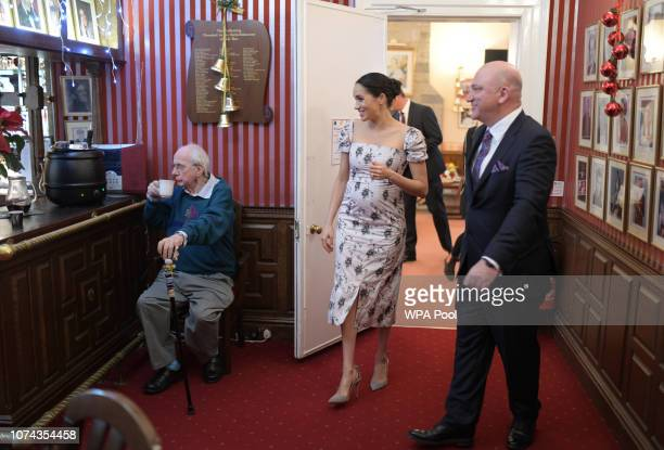Meghan Duchess of Sussex visits actor Richard O'Sullivan in the Royal Variety Charity's residential nursing and care home at Brinsworth House on...