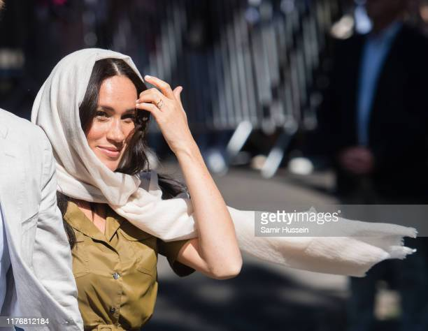Meghan Duchess of Sussex visits Auwal Mosque in the BoKaap neighbourhood with Prince Harry Duke of Sussex during their royal tour of South Africa on...