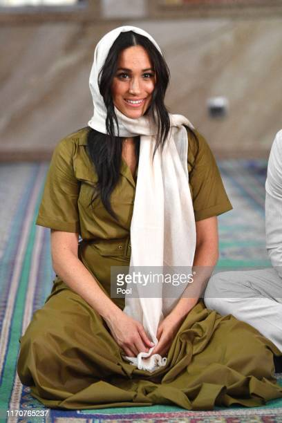 Meghan, Duchess of Sussex visits Auwal Mosque on Heritage Day with Prince Harry, Duke of Sussex during their royal tour of South Africa on September...