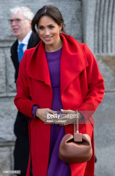 Meghan Duchess of Sussex visits Hamilton Square to view a new sculpture erected in November to mark the 100th anniversary of Wilfred Owen's death on...
