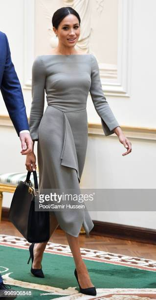 Meghan Duchess of Sussex visits Irish President Michael Higgins and his wife Sabina Coyne at Aras an Uachtarain during their visit to Ireland on July...