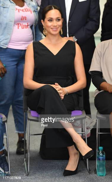 Meghan, Duchess of Sussex visits mothers2mothers during her royal tour of South Africa with Prince Harry, Duke of Sussex on September 25, 2019 in...