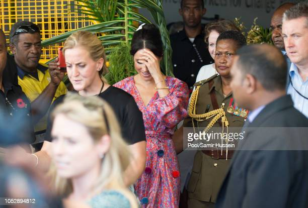 Meghan Duchess of Sussex visits Suva Market to meet some of the female vendors who have been involved in the UN Women's project 'Markets for Change'...