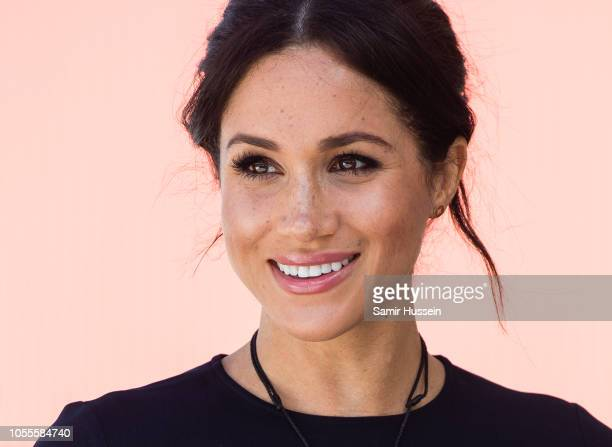 Meghan, Duchess of Sussex visits Te Papaiouru Marae for a formal powhiri and luncheon on October 31, 2018 in Rotorua, New Zealand. The Duke and...
