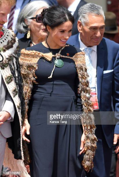 Meghan Duchess of Sussex visits Te Papaiouru Marae for a formal powhiri and luncheon on October 31 2018 in Rotorua New Zealand The Duke and Duchess...