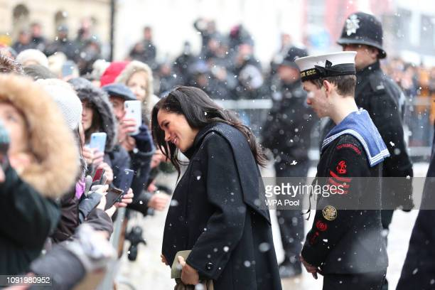 Meghan Duchess of Sussex visits the Bristol Old Vic and meets members of the public gathered outside on February 1 2019 in Bristol England