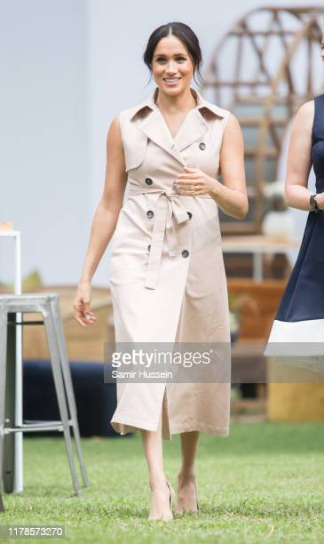 Meghan, Duchess of Sussex visits the British High Commissioner's residence to attend an afternoon reception to celebrate the UK and South Africa's...
