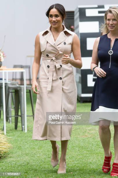Meghan Duchess of Sussex visits the British High Commissioner's residence to attend an afternoon reception to celebrate the UK and South Africa's...