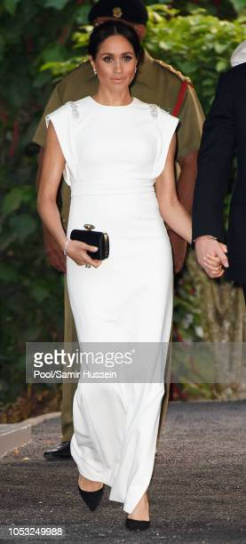 Meghan Duchess of Sussex visits the Consular House in NukuÕalofa for a private audience with King Tupou VI and Queen NanasipauÕu on October 25 2018...