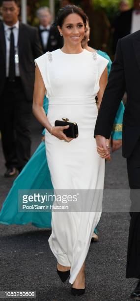 Meghan, Duchess of Sussex visits the Consular House in NukuÕalofa for a private audience with King Tupou VI and Queen NanasipauÕu on October 25, 2018...