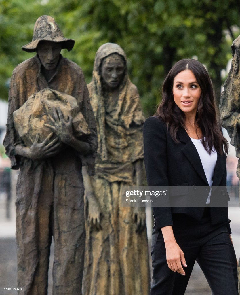 Meghan, Duchess of Sussex visits the Famine Memorial during their visit to Ireland on July 11, 2018 in Dublin, Ireland.