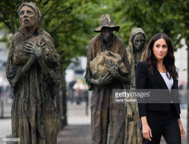 Meghan Duchess of Sussex visits the Famine Memorial during their visit to Ireland on July 11 2018 in Dublin Ireland
