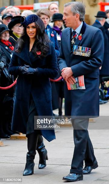 Meghan Duchess of Sussex visits the Field of Remembrance at Westminster Abbey in central London on November 7 2019 The Field of Remembrance is...