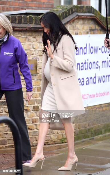 Meghan Duchess Of Sussex visits the Mayhew Animal Welfare Charity on January 16 2019 in London England This will be Her Royal Highness's first...