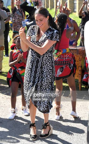 Meghan, Duchess of Sussex visits the Nyanga Township with Prince Harry, Duke of Sussex during their royal tour of South Africa on September 23, 2019...