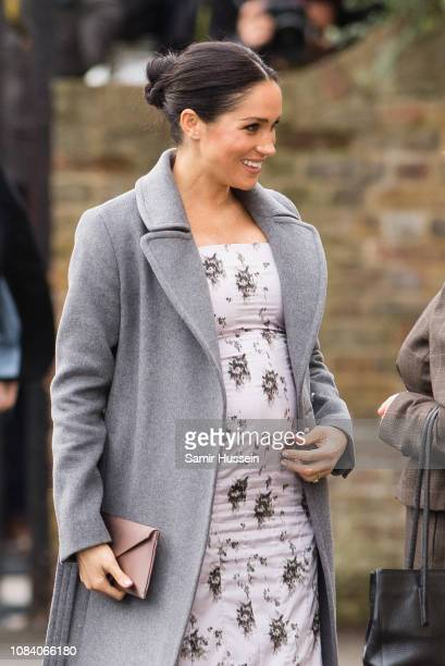 Meghan Duchess of Sussex visits the Royal Variety Charity's at Brinsworth House on December 18 2018 in Twickenham England