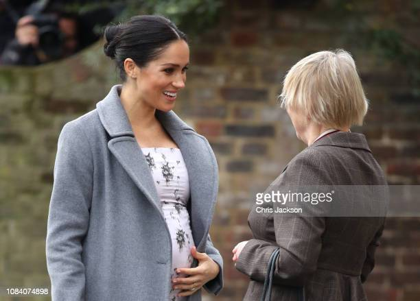 Meghan Duchess of Sussex visits the Royal Variety Charity's at Brinsworth House on December 18 2018 in Twickenham England The visit follows The...