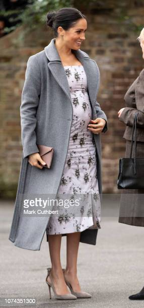 Meghan Duchess of Sussex visits the Royal Variety Charity's residential nursing and care home at Brinsworth House on December 18 2018 in Twickenham...