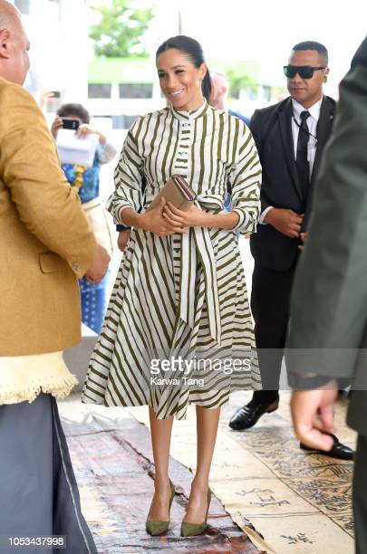 Meghan Duchess of Sussex visits the St George Building to call on the Prime Minister S Akilisi Pohiva on October 26 2018 in Nuku'alofa Tonga The Duke...