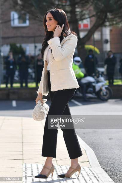 Meghan, Duchess of Sussex visits the the Robert Clack Upper School in Dagenham to attend a special assembly ahead of International Women's Day held...