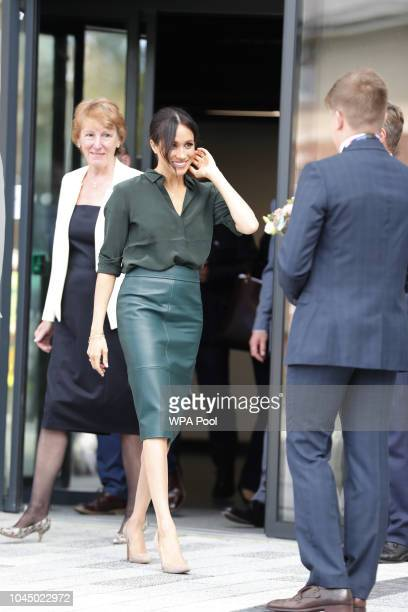 Meghan Duchess of Sussex visits The University of Chichester Tech Park during an official visit to Sussex on October 3 2018 in Chichester England The...